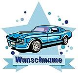 Samunshi Blaues Auto Wandtattoo Türschild mit Name personalisierbar Kinderzimmer Türaufkleber Baby Wandaufkleber in 9 Größen (25x22cm Mehrfarbig)