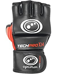 Optimum Tech Pro X14 - Guantes de boxeo para combate, color negro / rojo, talla M
