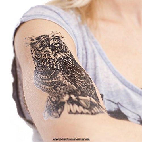 1 x Eule mit Schlüssel Body-Tattoo - schwarzes einmal Haut Tattoo - A1232 (1)