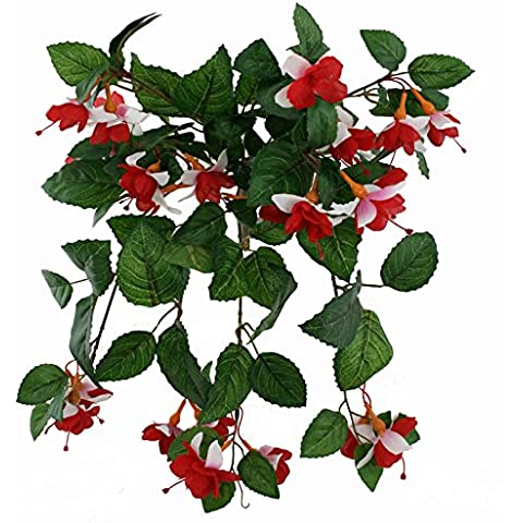 FloristryWarehouse Artificial silk Fuchsia Red White 50cm hanging basket window box flowers by FloristryWarehouse - Hanging Flower Vase
