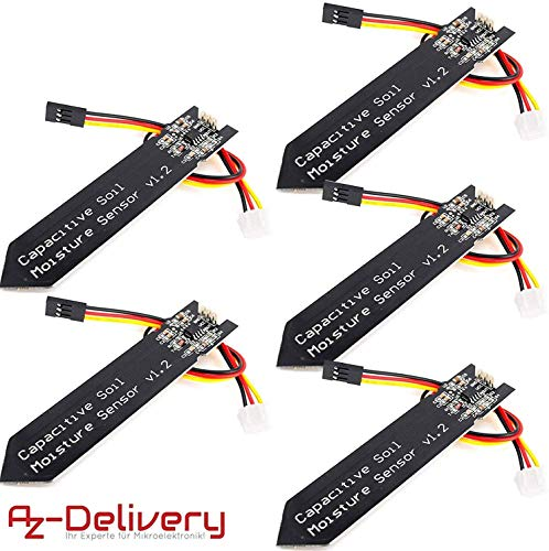 AZDelivery 5 x Bodenfeuchtesensor Hygrometer Modul V1.2 kapazitiv für Arduino mit eBook