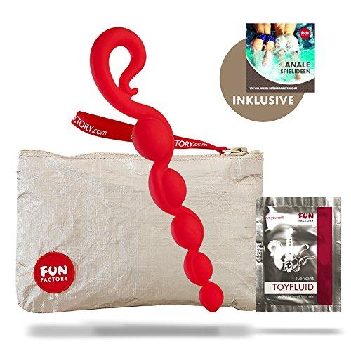 Fun Factory BENDYBEADS rot Silikon Analkette für Anfänger (Set inkl. tollen Zubehör) 26,5 cm lang - Perlen Ø: 2 - 3,4 cm Analspielzeug Analkugeln für Männer und Frauen
