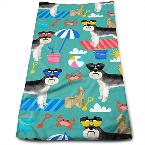 Schnauzer Summer Sandcastles Design Summer Dog Hand Towels Dishcloth Floral Linen Hand Towels Super Soft Extra Absorbent for Bath,Spa and Gym 12