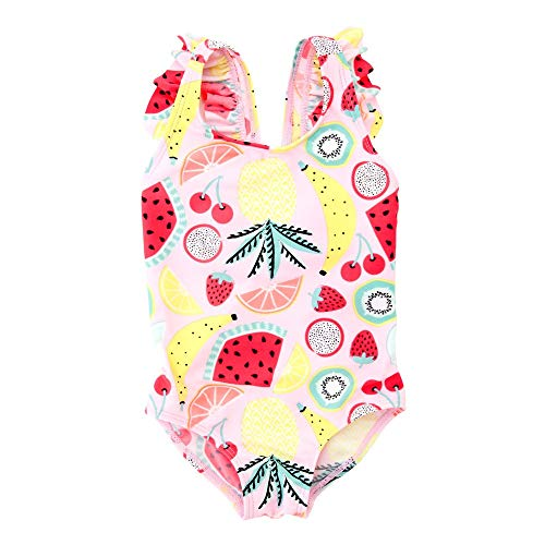 DGCOSW Kleine Mädchen gedruckt EIN Stück Bikini Badeanzug Kinder Rüschen ärmellose Sommerferien Badeanzug Beachwear Tankini Bademode Trikots Body Strandkleidung (Farbe : Rosa, Größe : 5T) - 5t Mädchen Trikot