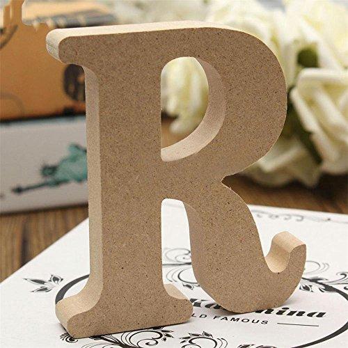 verlike Craft Holz Buchstaben A-Z Alphabet zum Aufhängen Hochzeit Brautschmuck Party Home Ornament, holz, Wooden Color, R