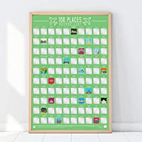 Gift Republic 100 Places-Scratch Off Bucket List Poster, Paper, Green