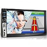 XOMAX XM-2VRSUN731BT Autoradio / Moniceiver / Naviceiver con navigatore GPS con cartografia europea + Funzione vivavoce Bluetooth con importazione rubrica telefonica + Display touch screen da 7'' / 18 cm con risoluzione HD, 800 x 480 pixel, formato 16:9 + Porta USB (fino a 128 GB!) + Slot per schede Micro SD (fino a 64 GB!) + Riproduzione multimediale: MPEG4, MP3, WMA, JPEG, ecc + Ingresso per telecamera retromarcia + doppio DIN 2 DIN + Telecomando, plancia e mascherina inclusi