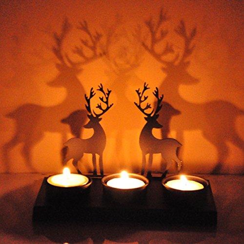 Hashcart Traditional Tea Light Candle Holder/Metal Candle Light Holder Set/Designer Votive Candle Holder Stand/Table Decorative Candle Holders, Deer Shadow Tea Light for Home Living Room & Office