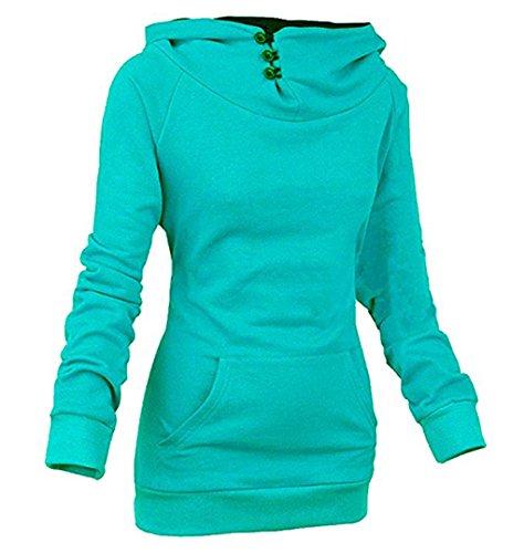 Femme Hiver Automne Décontractée Hooded Chemisiers à Manches Longues Couleur unie Poche Encapuchonné Sweatshirt et Slim Sweats à Capuche Top Vert