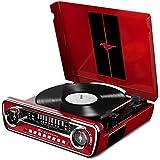ION Audio Mustang LP Red  Tourne Disque Rétro Ford Mustang 1965 4-en-1 avec Haut-parleurs, FM Radio, Entrée Aux et USB Rouge