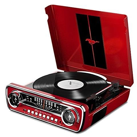 ION Audio Mustang LP Red Tourne Disque Rétro Ford Mustang 1965 4-en-1 avec Haut-parleurs, FM Radio, Entrée Aux et USB