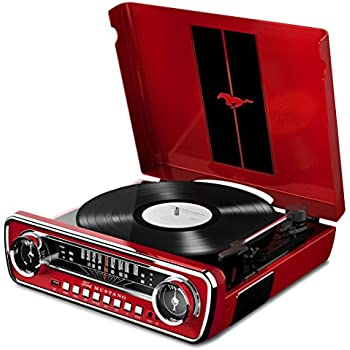 ION Audio Mustang LP Giradischi con Radio, Altoparlanti Amplificati e Conversione Vinili su Chiavetta USB,  Rosso