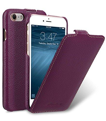 MELCKO Edle Tasche für Apple iPhone 8 und iPhone 7 (4.7 Zoll) | Case Außenseite aus beschichtetem Leder | Schutz-Hülle aufklappbar | Flip-Case | Ultra-Slim Cover | Etui | Lila | Violett