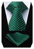 HISDERN Dot Floral Wedding Tie Panuelo para hombres Corbata y bolsillo cuadrado verde