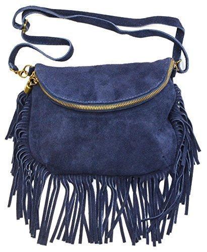 Italy Damen Handtasche Beuteltasche Schultertasche Fransen Veloursleder dark blue Dark Blue