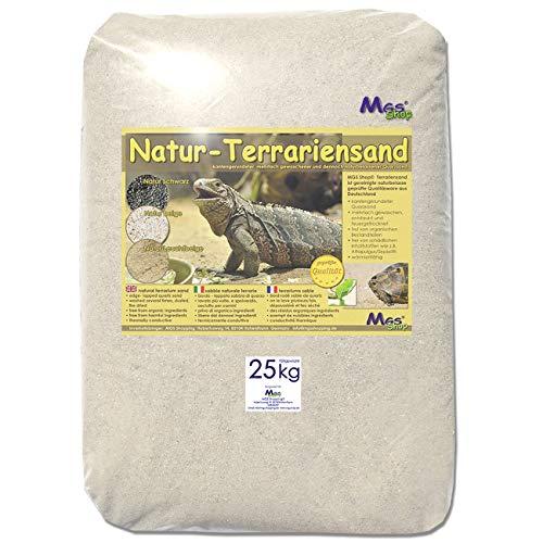 MGS SHOP 25 kg Terrariensand Natur BEIGE weich & rund geprüfte Qualität 0,3-0,6 mm