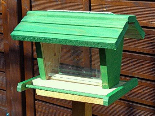 Vogelfutterhaus BTV-X-VOFU2G-gras001 XXL PREMIUM Vogelhaus mit großem 3D-SILO, grasgrün Marien Käfer grün PURE GREEN Garten grüner Nistkasten Insekten, KOMPLETT MIT 2 GROSSEN SICHTSCHEIBEN FÜR FUTTERVORRAT, als Ergänzung zum Meisenkasten oder zum Insektenhotel, Vogelfutterhaus, für Vögel, zum Hängen und zum Aufstellen