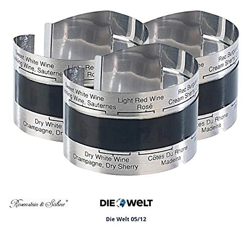 Rosenstein & Söhne Wein-Außenthermometer: Praktisches Flaschen-Thermometer für Wein, Sekt, Saft u.v.m, 3er-Set (Temperaturmesser für Weinflasche)