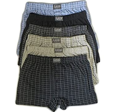 6 Pairs Mens Cotton Rich Button Boxer Shorts Check Patterened Boxers Sizes S-6XL