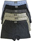 6 Pairs Mens Cotton Rich Button Boxer Shorts Check Patterened Boxers Sizes S-6XL