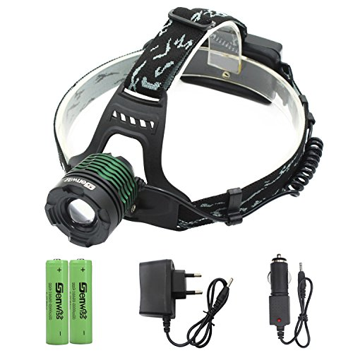Siuyiu LED Stirnlampe, Taschenlampe,XM-T6, Wiederaufladbar, mit Zoom, 5000 Lumen Super T6 Für Camping, Mountainbiken Jagd Angeln (inklusive 2 x 4200 mAh 18650 Akkus, Ladegerät, KFZ-Ladegerät