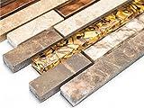 Mosaik-Netzwerk Mosaikfliese Verbund Crystal/Marmor mix beige/braun Glas Naturstein Fliesenspiegel, Mosaikstein Format: 15x48/98/148x8 mm, Bogengröße: 298x338 mm, 1 Bogen / Matte