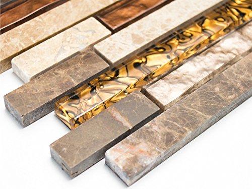 Glas Marmor Mosaik (Mosaik-Netzwerk Mosaikfliese Verbund Crystal/Marmor mix beige/braun Glas Naturstein Fliesenspiegel, Mosaikstein Format: 15x48/98/148x8 mm, Bogengröße: 298x338 mm, 1 Bogen / Matte)