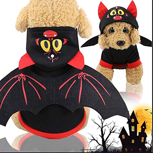 ZLALF Pet Halloween Bat Wings Kostüm Cool Batman Design Party Kleidung Klein Katze - Coole Kostüm Für Hunde