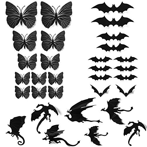 Phogary 31 Stück Halloween Scary Kunststoff 3D Wandsticker - Fledermäuse + Drache + Schmetterling, Fenster Dekor Party Supplies Dekoration