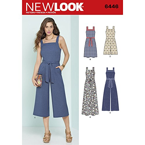 New Look Sewing Pattern 6446A Misses' Jumpsuits and Dresses, Paper, White, 22 x 15 x 1 cm