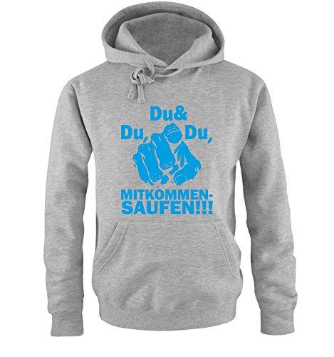 Comedy-Shirts -  Felpa con cappuccio  - Maniche lunghe - Uomo Grau / Blau