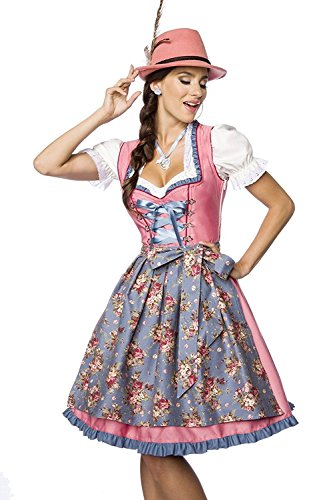Luxus Designer Dirndl mit Schürze Kleid Dirndkleid Oktoberfest Tracht Trachtenkleid Spitze Denim Blumenprint Paspelierung Rüschen Rot Grün Rosa Blau XS - 3XL (Spitze, Denim)