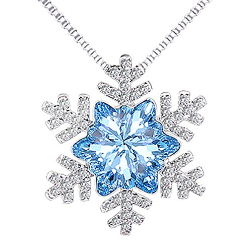findout Damen blauer Kristall Kubische Zircons Schneeflocke Blinkt hängende Halskette .for Frauenmädchenkinder. ()