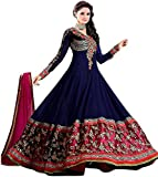 #6: Mrs women Women's Gown Latest Party Wear Designer Georgette Embroidery Semi Stitched Free Size Salwar Suit Dress Material
