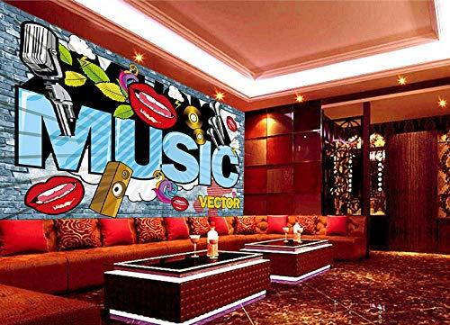 Wanghan 3D Tapete Individuelle Tapeten Europa Und Amerika Straße Rote Lippen Musik Graffiti Ktv Hintergrund Bar Entertainment Place Fototapete-200Cmx140Cm