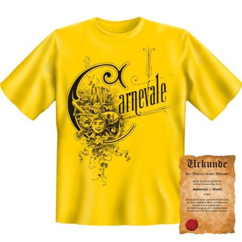 lustiges witziges Karneval Fasching T-Shirt + Urkunde: Carnevale - Herren Fun Shirt Rosenmontag Fastnacht Kostüme (Party Ideen Kostüm Playboy)