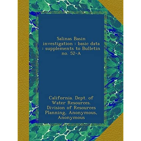 Salinas Basin investigation : basic data : supplements to Bulletin no. 52-A