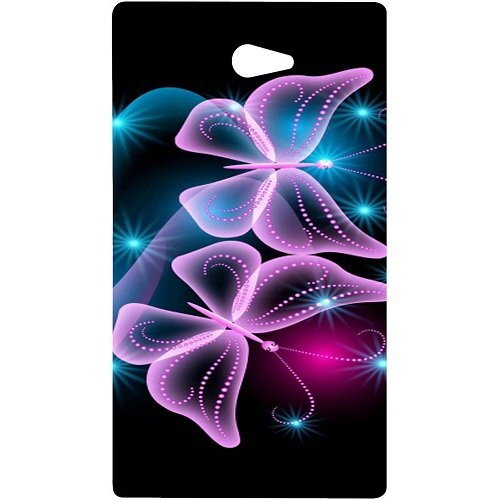 Casotec Butterflies Neon Light Design Hard Back Case Cover for Sony Xperia M2  available at amazon for Rs.329