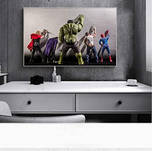 51Lda7POwsL - Película Superhéroes en Aseo Cartel Nord Heros Niños Habitación Decoración Arte de la Pared Pintura de la Lona Cuadro 60x80cm Sin Marco