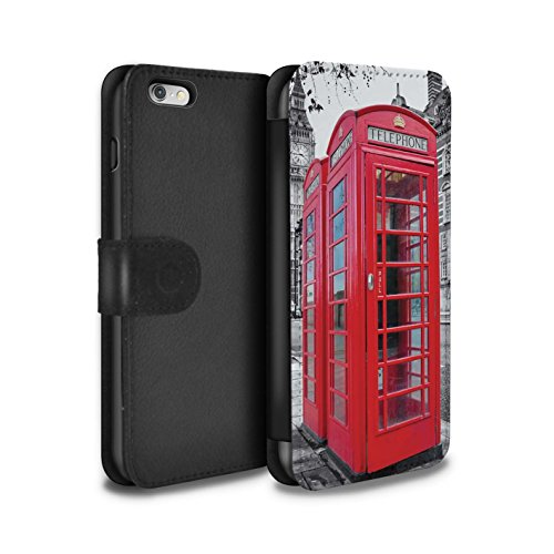 Stuff4® PU-Leder Hülle/Case/Tasche/Cover für Apple iPhone 6+/Plus 5.5 / Red Phone Box Muster/London England Kollektion