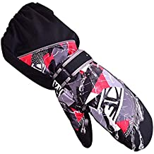 HUKOER Guantes de invierno de niños guantes de esquí niños/niñas deporte impermeable a prueba de viento y nieve Mitones muñeca extendidos (Negro, XXS)