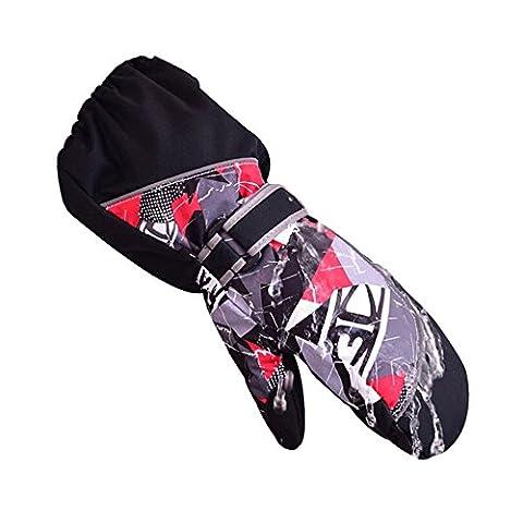 HUKOER Snowproof Ski Gloves - Kids Winter Warm Ski Gloves Sports Waterproof Windproof Snow Mittens Extended Wrist Skiing Gloves for Boys and Girls