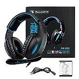 Gaming Headset Para PS4 New Xbox One PC Controlador, Sades SA816 Over-Ear Surround Sonido Auriculares Pro Gaming Auriculares con micrófono Volumen 3.5 mm Negro Azul