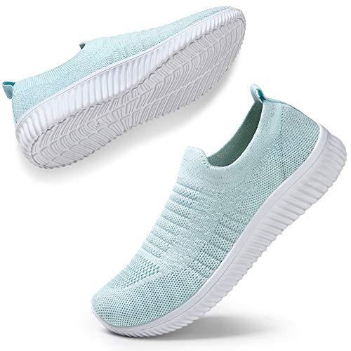 STQ Damen Atmungsaktive Schuhe Komfortable Sohlen Turnschuhe Outdoor Mesh Sportschuhe(Himmelblau40) (Blaue Heels Größe 6)