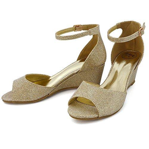 ESSEX GLAM Donna Cuneo Basso Cinturino alla Caviglia Peep Toe Sintetico Sandalo Oro Glitter
