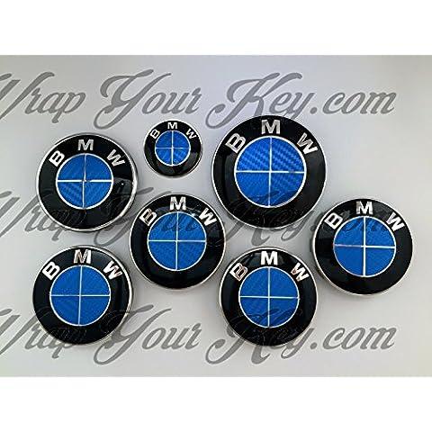 Completo Azul Fibra de Carbono BMW–Emblema Insignia Overlay Trunk Llantas Única BMW