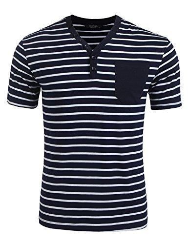 Modfine Herren kurzarmshirt T-Shirt Shirt Kurzarm Oberteile Gestreift V Ausschnitt Henley Basic Baumwolle Slim fit mit Grandad-Kragen Knopfleiste (Grandad-kragen-shirt)
