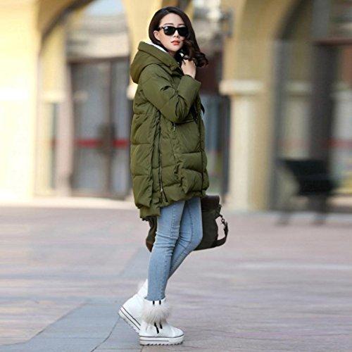 Reaso Femme Manteau Long Chaud Elegant Pullover à Capuche Fourrure Hiver Laine Parka Trench coat Mode Veste Chic Blouson Manches Longues Grande taille Armée Verte