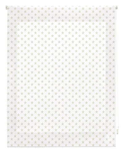 Blindecor Stars Estor Enrollable, Tela, Blanco con Estrellas BEIG, 120 x 180 cm