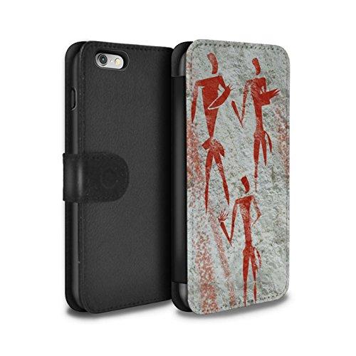 STUFF4 PU-Leder Hülle/Case/Tasche/Cover für Apple iPhone 6S / Ansturm/Rot Muster / Höhlenmalerei Kollektion Sammler/Rot